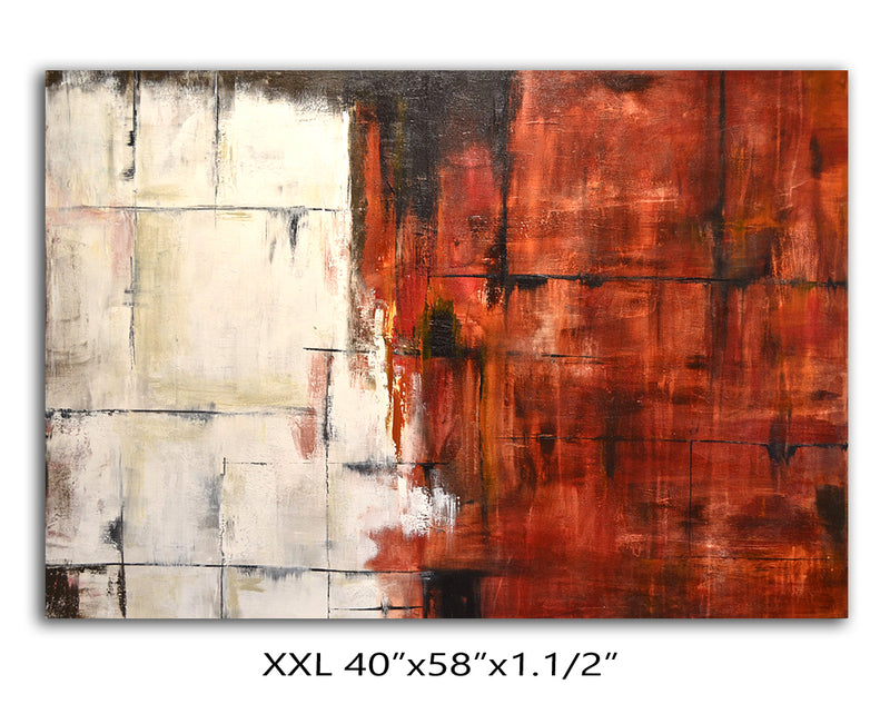 40 x 50 red white abstract modern artwork