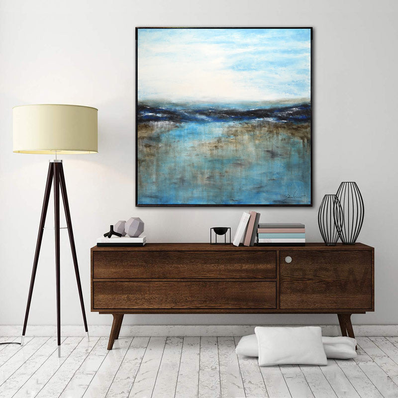 large seascape painting blue landscape wall art