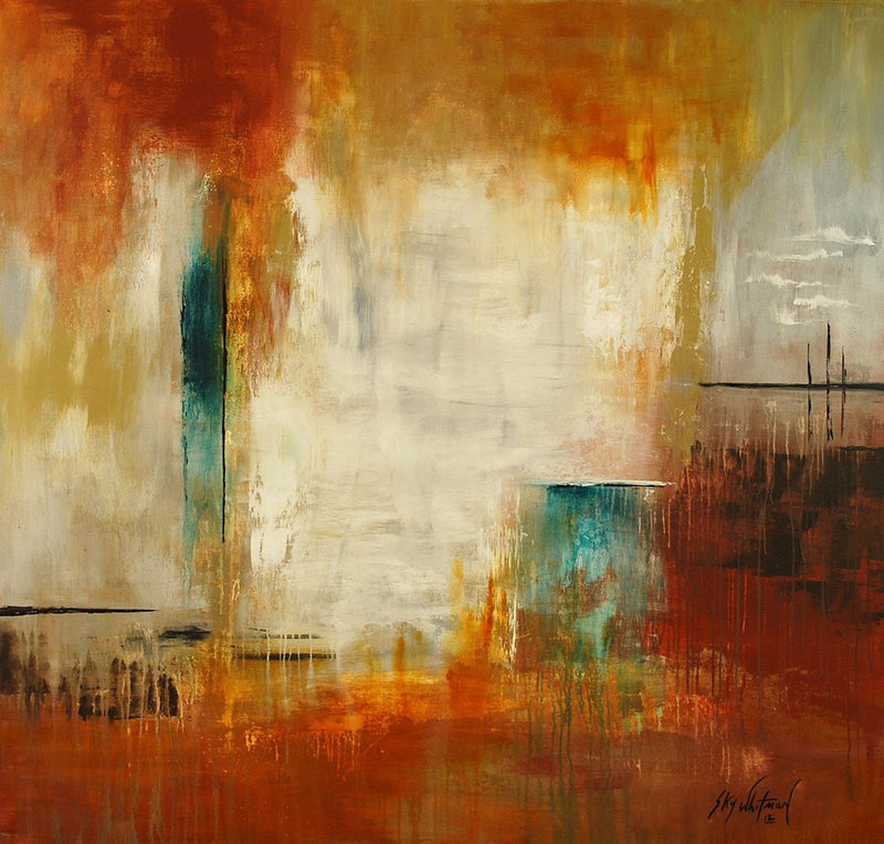 large 5 foot modern painting abstract art orange painting 60x60 square painting Bethany Sky Whitman