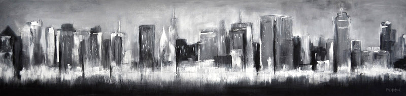 black and white panoramic skyline NYC