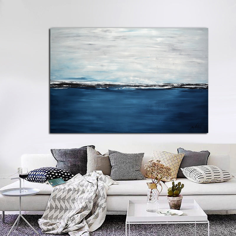 """The Bluest Blue"" Abstract Landscape Large Painting"