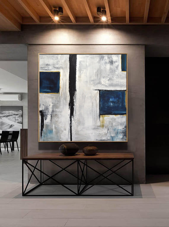 abstract art modern wall art contemporary blue