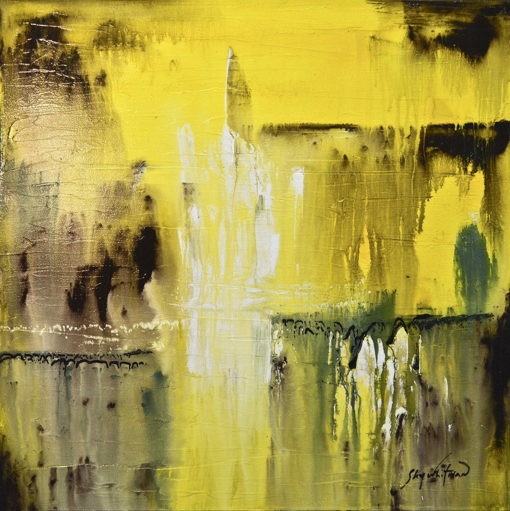 the sun shines in me yellow textured high gloss painting sky