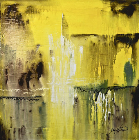Yellow Coffee Textured High Gloss Diepte Kleur Abstract Painting ~SIMILAR CAN BE RECREATED