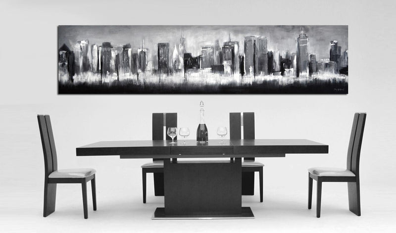 urban art abstract painting black and white cityscape
