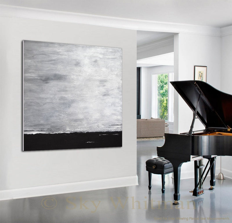 Oversized painting piano large abstract gray design wall art decor Sky Whitman