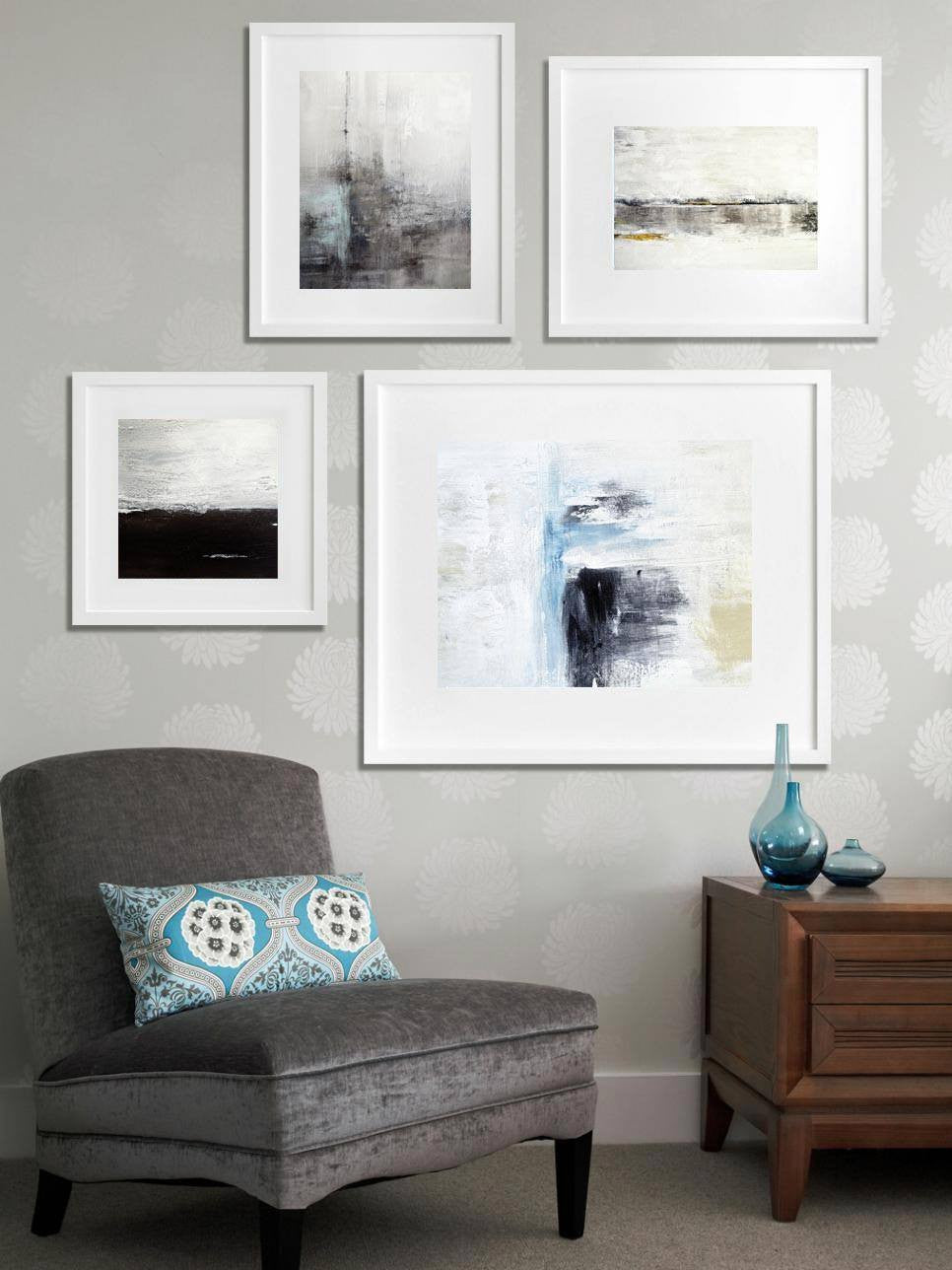 4 piece abstract prints modern contemporary digital downloads Sky Whitman