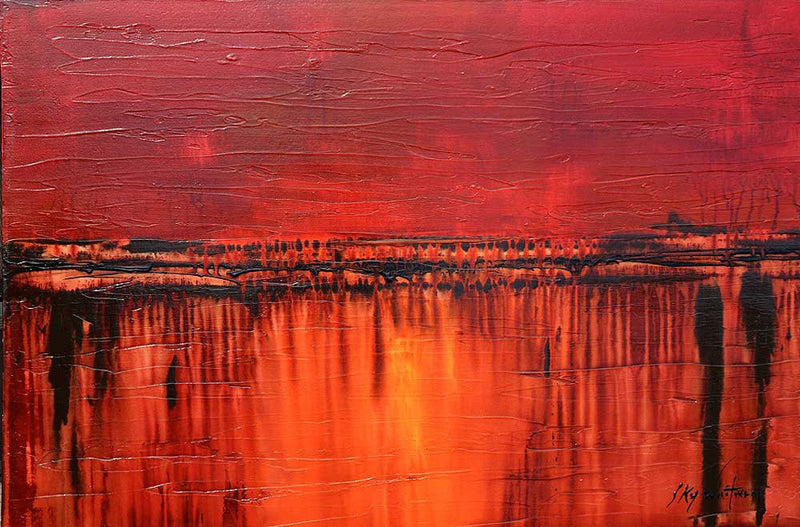 red abstract painting www.skywhitmanfineart.com