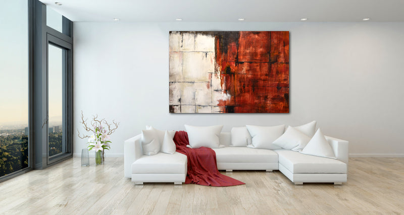 """Between Time"" Red Abstract Painting Large Artwork"