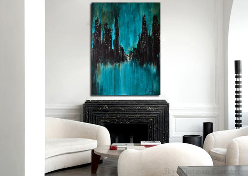 """Urban Myth"" Blue Abstract Painting Cityscape Art"