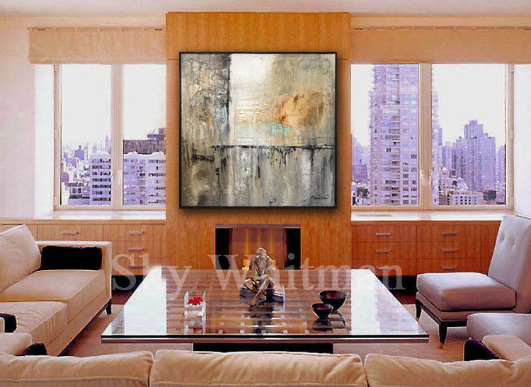 Shades Of Gray Toupe & Clay Diepte Kleur Framed Abstract Painting