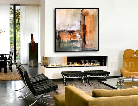 """Endless Endings"" Burnt Sage & Sienna 31""x31"" Diepte Kleur Framed Abstract Painting ~Available For Immediate Shipping"