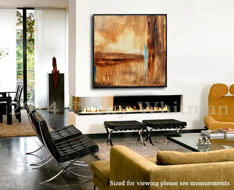 """Melt II"" Large Brown Rust Diepte Kleur Framed Painting 31""x31"" ~Available For Immediate Shipping"