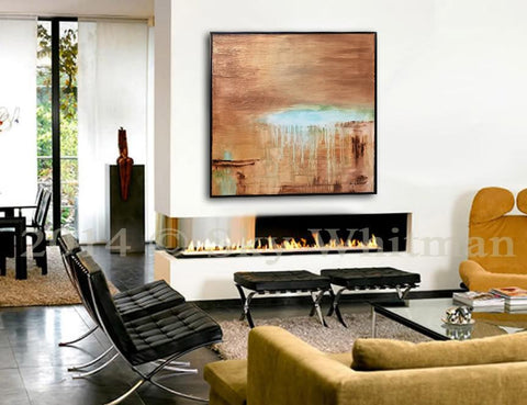 "SOLD ""Naive"" Brown Blue 31""x31"" Diepte Kleur Framed Abstract Painting ~Available For Immediate Shipping"