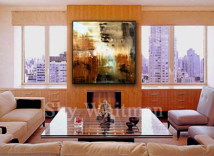 Rich Earth Tones Diepte Kleur Abstract Framed Painting
