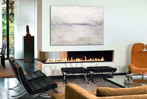 Faded Shades Of Gray White & Taupe Abstract Contemporary Painting