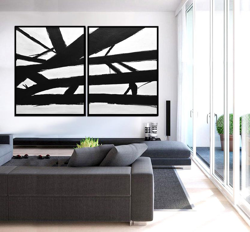 2 piece abstract minimalist paintings diptych Sky Whitman