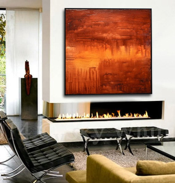 large red painting abstract art modern square artwork Sky Whitman