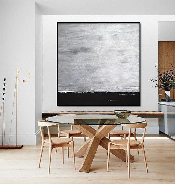 Large square abstract painting black and white loft urban style abstract wall decor artwork textured Sky Whitman