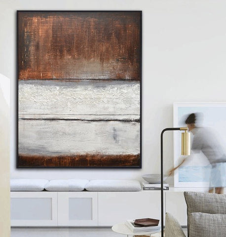 """Urban Center"" Mixed Media Large Brown White Textured Original Abstract Art Contemporary Painting ~AVAILABLE FOR IMMEDIATE SHIPPING"