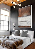 Large framed painting home decor modern design earth tones abstract painting Sky Whitman