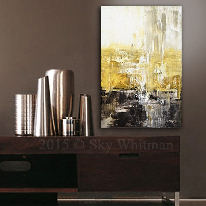 Taupe Coffee & Amber Abstract Contemporary Painting