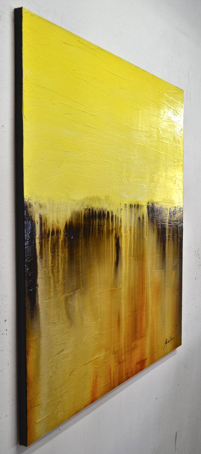 """Summer Smiles"" Yellow Textured Abstract Art Oil"