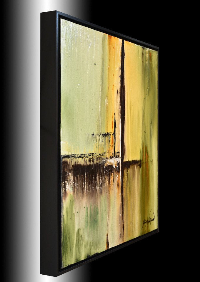 """Somewhere"" Olive Green Textured High Gloss Painting"