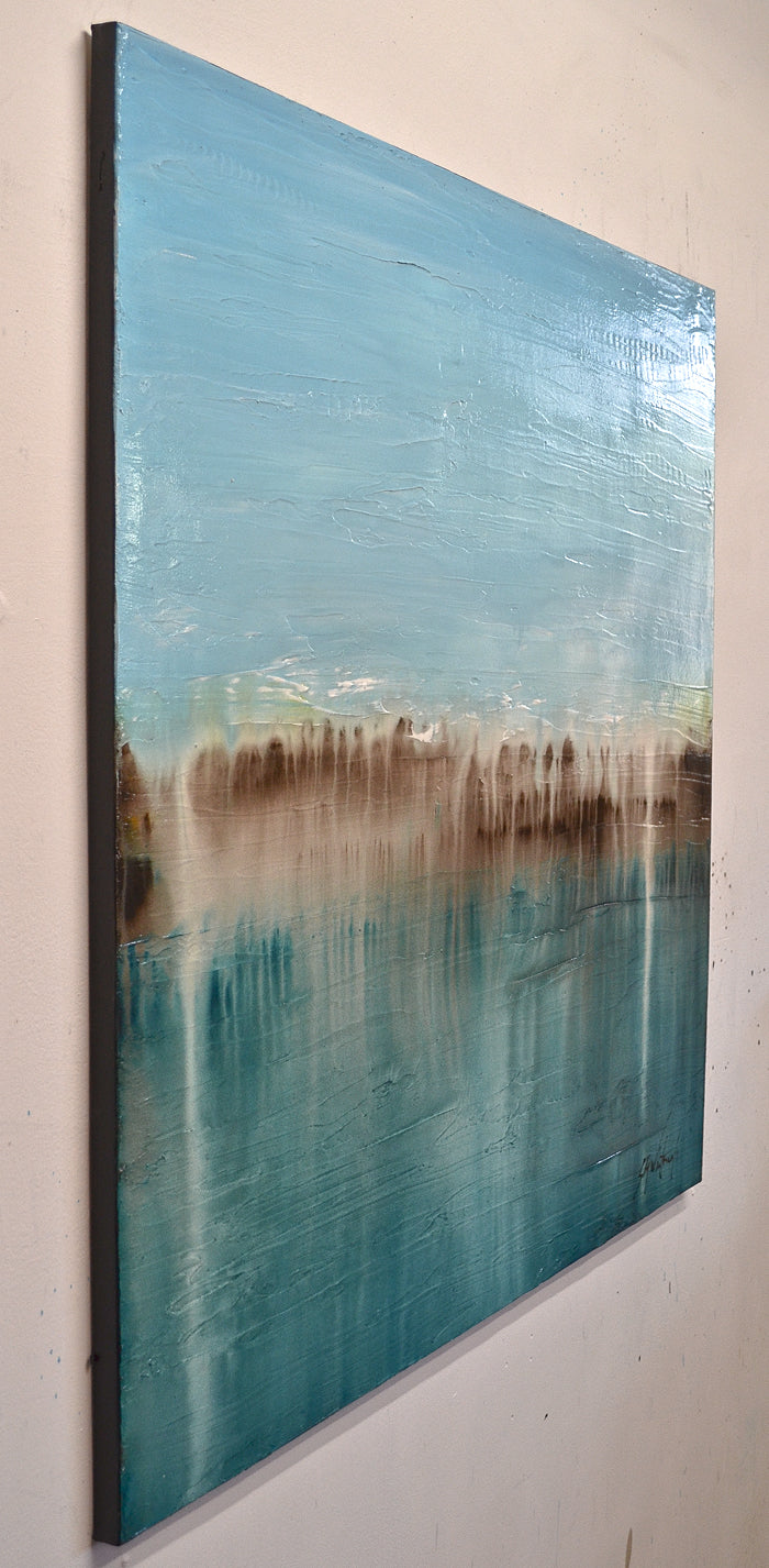 """We Always Knew"" Blue Textured Abstract Oil Painting"