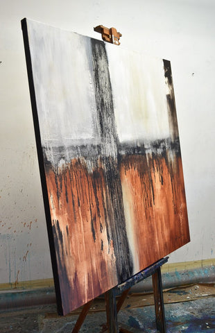 """NYC"" Large Original Square Abstract Art 48x48 Huge Contemporary Painting Burnt Rust ~AVAILABLE FOR IMMEDIATE SHIPPING"