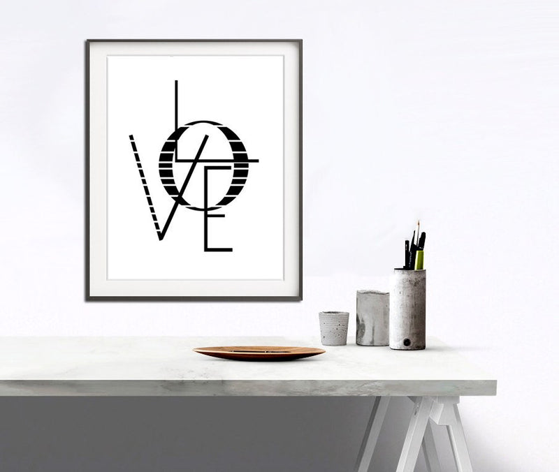 large print love print circle contemporary art