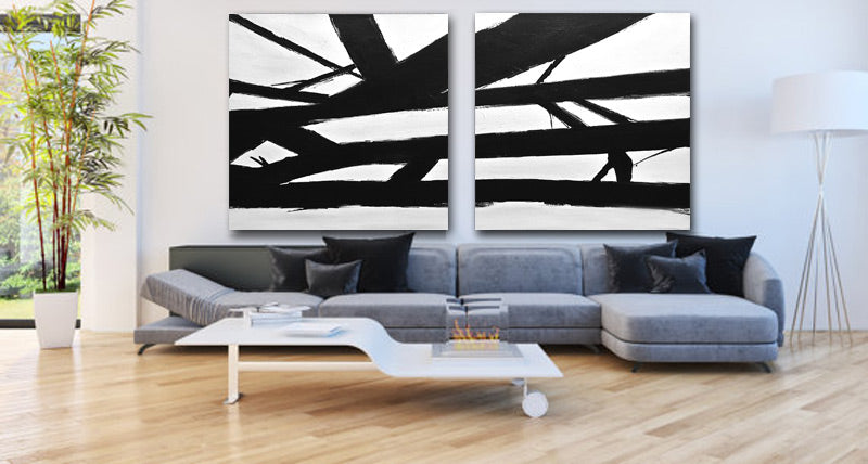"""Crossing the Lines"" 2 PIECE Black and White Abstract Art"