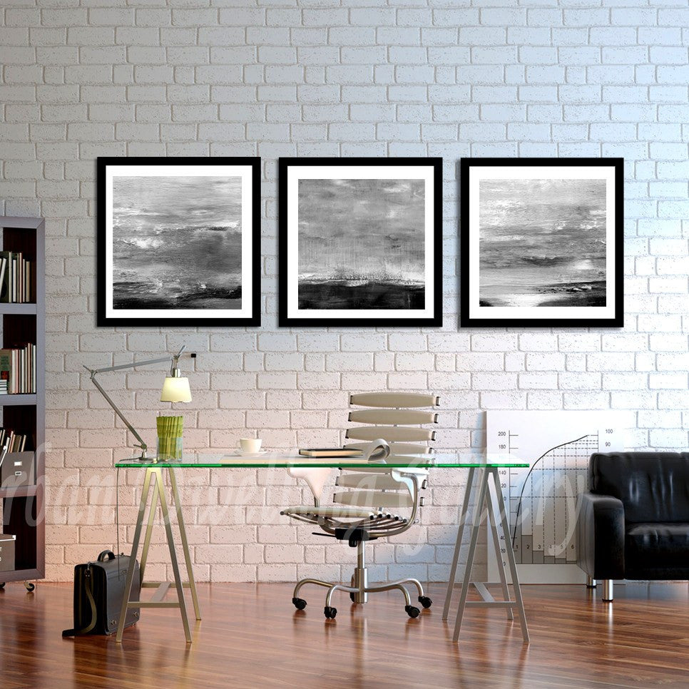 triptych set of 3 print digital download black and white art abstract Sky Whitman