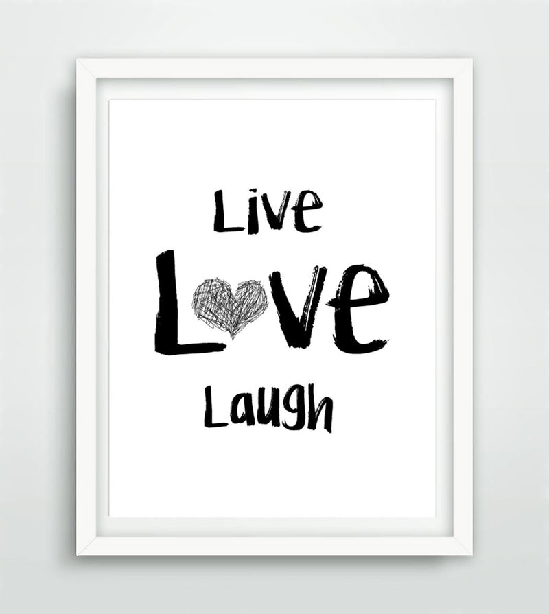 """Live Love Laugh"" Scribble Heart Print Instant Digital Download"