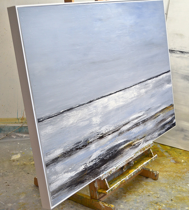 """A New Day II"" Gray Abstract Landscape Large Painting"