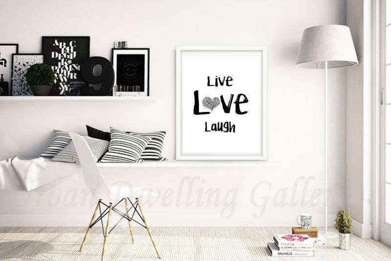 live love laugh print digital download 11x14 contemporary inspiration quote print