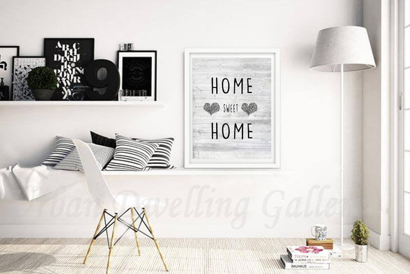 Digital download home sweet home hearts design saying black and white print