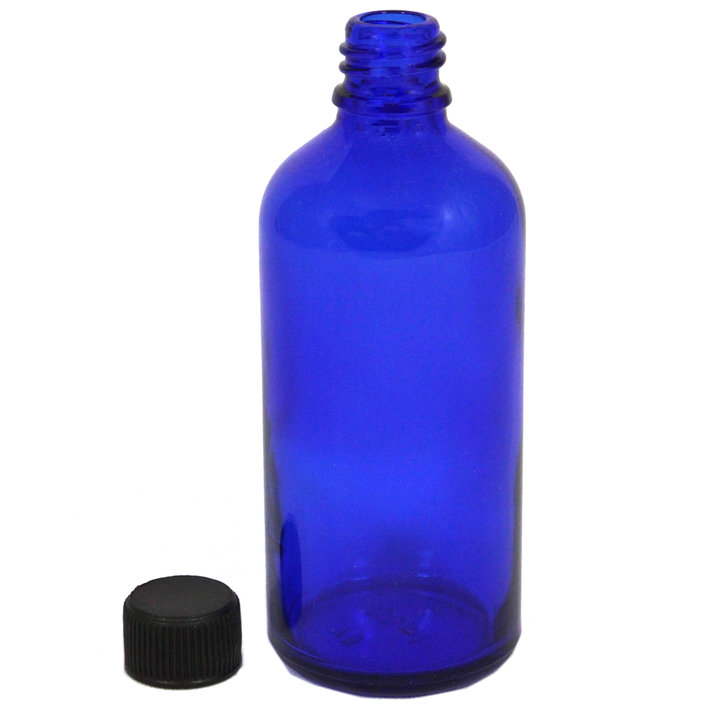 100mL blue glass bottle with cap 10-pack