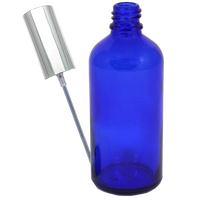 100mL blue glass bottle with silver spray 10-pack