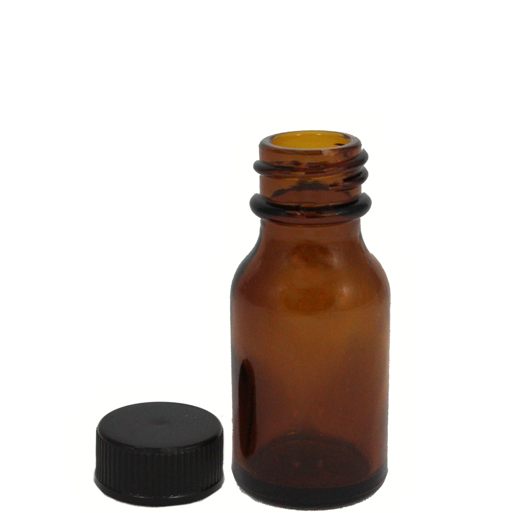 15mL amber glass bottle with cap 10-pack