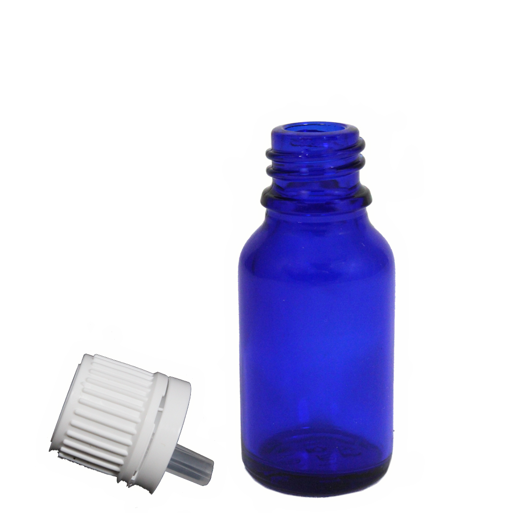 15mL blue glass with dropper cap 10-pack
