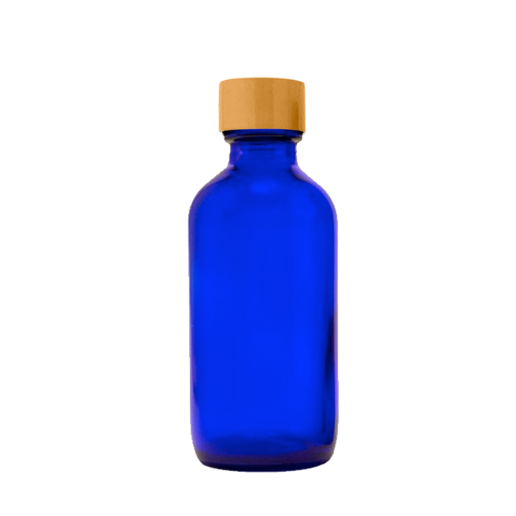 60mL blue glass bottle gold cap 10-pack