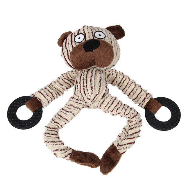 Plush Squeaky Chew Toys for Small Dogs - shapes of Bear, Monkey, and Cow!