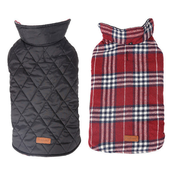 Plaid Reversible Dog Coat - Warm & Windproof  - sizes XS - 3XL