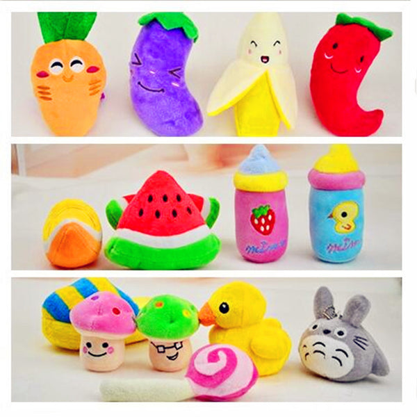 Dog Squeaky Chew Toys Plush & Cute Fruit & Vegetable Designs  - 15 Styles