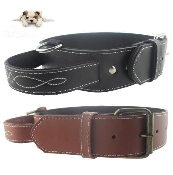 Genuine Leather Adjustable Dog Collars with Handle