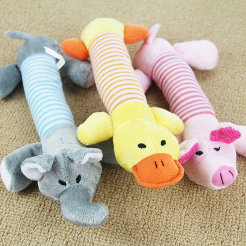 Dog & Puppy Chew Squeaky Plush Duck Pig & Elephant Toys