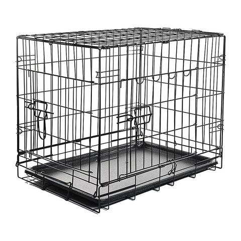 Double-Door Black Folding Pet Cage