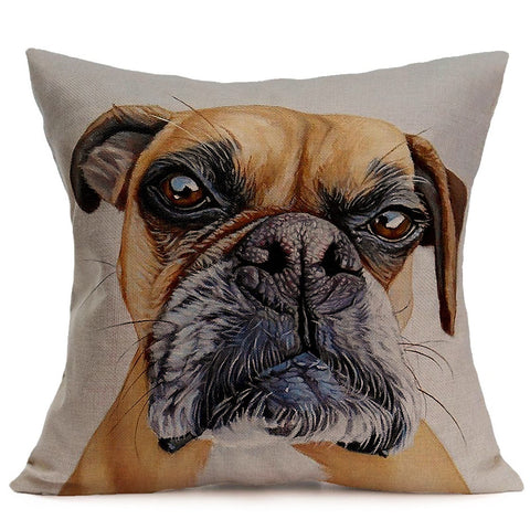 Lovely Dog Cushion Cover Cut Animals Pillow Covers Bedroom Sofa Decor 43cmx43cm