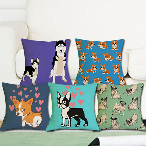 Lovely Dog Cartoon Geometric Pattern Cotton Linen Pillow Cover, Cushion Cover, PillowCase Cover